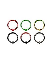 Multi-Pack Ombre Hoop Nose Rings 6 Pack - 20 Gauge
