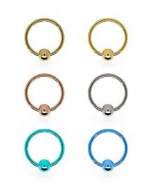 Multi-Pack Colored Hoop Nose Rings 6 Pack - 20 Gauge