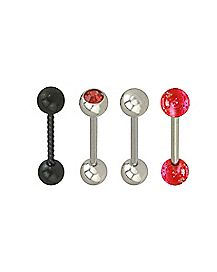 Multi-Pack Twisted CZ Barbells 4 Pack - 14 Gauge