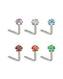 Multi-Pack Colored CZ L Bend Nose Rings 6 Pack - 20 Gauge