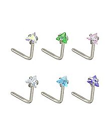 Multi-Pack Triangle CZ L Bend Nose Rings 6 Pack - 20 Gauge