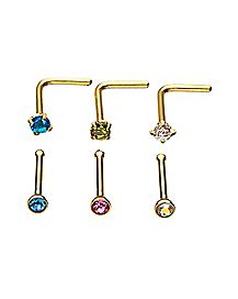 Multi-Pack Goldtone Colored CZ L Bend Nose Rings and Bone Nose Rings 6 Pack - 20 Gauge
