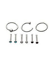 Multi-Pack CZ Bone Nose Rings and Hoop Nose Rings 9 Pack - 20 Gauge