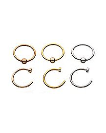 Multi-Pack Hoop Nose Rings 6 Pack - 20 Gauge