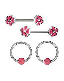 Multi-Pack Flower Nipple Rings 2 Pair - 14 Gauge
