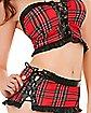Red Plaid School Girl Set
