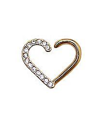 Goldtone CZ Heart Cartilage Earring - 16 Gauge