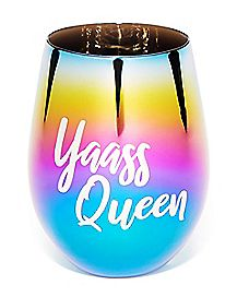 Yaass Queen Stemless Wine Glass