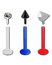 Red and Blue Bioflex Labret Lip Ring 3 Pack - 16 Gauge
