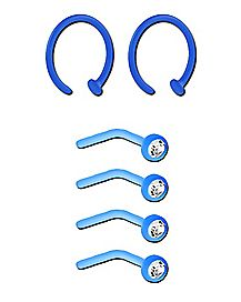 Multi-Pack Blue Bioflex CZ Stud and Hoop Nose Rings 6 Pack - 20 Gauge