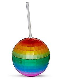 Rainbow Disco Ball Cup With Straw - 12 oz.