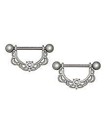 CZ Titanium Filigree Dangle Nipple Rings - 14 Gauge