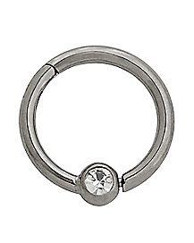 CZ Titanium Hinged Septum Ring - 16 Gauge