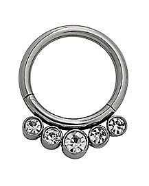 Multi-CZ Titanium Hinged Septum Ring - 16 Gauge