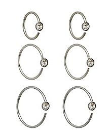 CZ Multi-Size Hoop Nose Rings 6 Pack - 20 Gauge