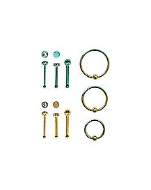 Multi-Pack Teal Goldplated CZ Bone Nose Rings and Hoop Nose Rings 9 Pack - 20 Gauge