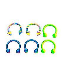 Multi-Pack Neon Horseshoe Rings 3 Pair - 16 Gauge