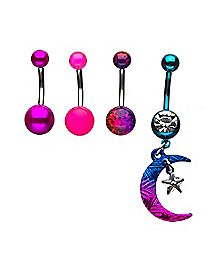 Multi-Pack CZ Moon Dangle Belly Rings 4 Pack - 14 Gauge
