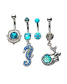 Multi-Pack CZ Seahorse Dangle Belly Rings 4 Pack - 14 Gauge