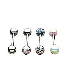 Multi-Pack CZ Splatter Barbells 4 Pack - 14 Gauge
