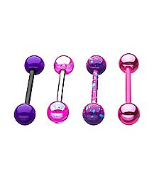 Multi-Pack Splatter Barbells 4 Pack - 14 Gauge