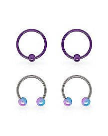 Multi-Pack Ombre Captive Rings and Horseshoe Rings 2 Pair - 18 Gauge