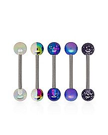 Multi-Pack Glitter Colored Barbells 5 Pack - 14 Gauge