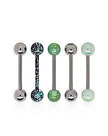 Multi-Pack Splatter Glitter Barbells 5 Pack - 14 Gauge