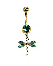 Goldtone CZ Dragonfly Dangle Belly Ring - 14 Gauge