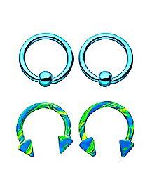 Green and Blue Splatter Horseshoe Rings and Captive Rings 2 Pair - 16 Gauge