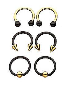 Multi-Pack Goldtone Horseshoe Rings and Captive Rings 3 Pair - 16 Gauge