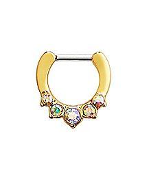 Goldtone Multi-Colored Gem Clicker Septum Ring – 16 Gauge