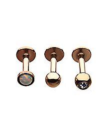 Multi-Pack Rose Goldtone Opal-Effect CZ Labret Lip Rings 3 Pack - 16 Gauge