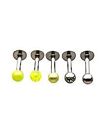 Multi-Pack Yellow CZ Labret Lip Rings 5 Pack - 16 Gauge