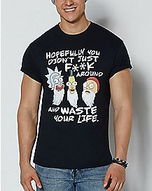 Waste Your Life Away T Shirt - Rick and Morty