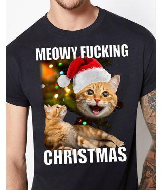 Meowy Fucking Christmas Ugly Christmas T Shirt