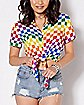 Cropped Rainbow Checkered Button Down Shirt