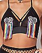 Rainbow Fringed Heart Bralette