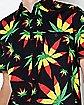 Rasta Leaf Button Down Shirt