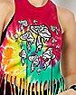 Tie Dye Fringe Mushroom Tank Top