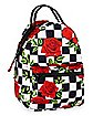 Checkered Rose Mini Backpack