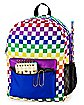 Rainbow Checkered Backpack