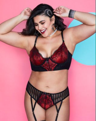 Plus Size Lace and Pinstripe Bra and Panties Set - ONE SIZE FITS MOST - by Spencer's