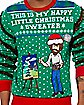 Light-Up Bob Ross Happy Little Christmas Ugly Christmas Sweater