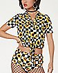 Cropped Checkered Sunflower Button Down Shirt