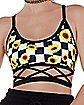 Checkered Sunflower Cutout Bralette