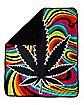 Trippy Weed Leaf Fleece Blanket