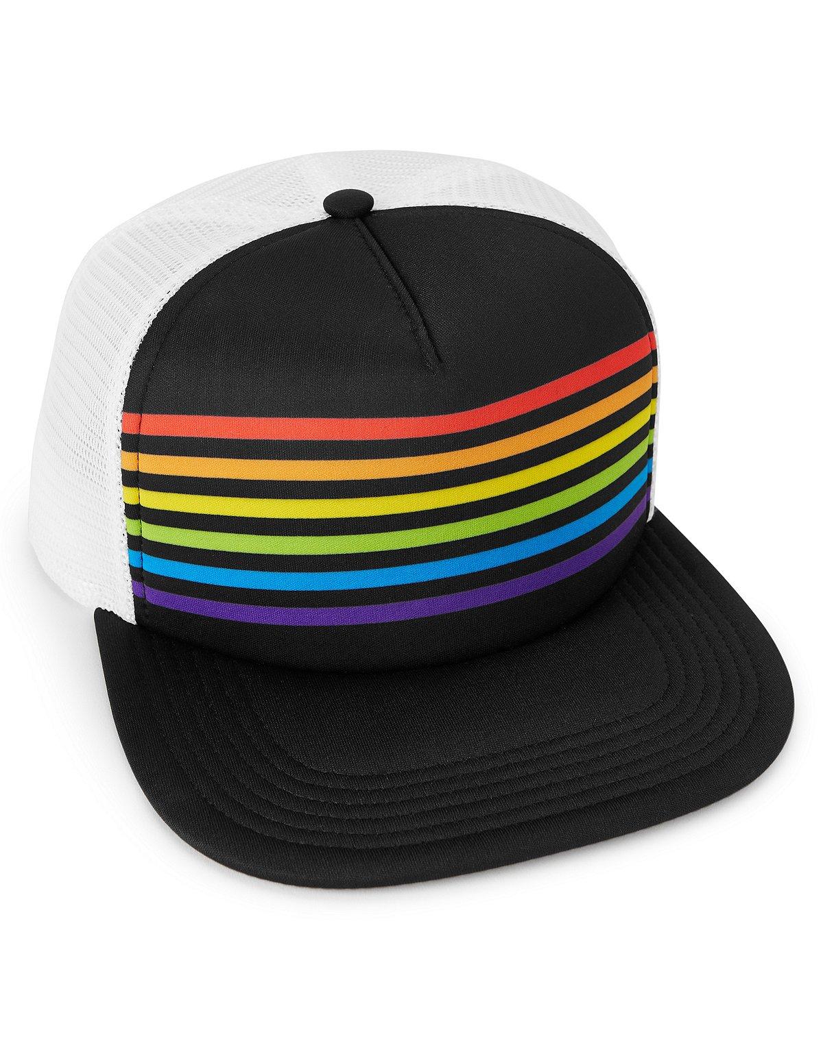 Rainbow Striped Snapback Hat