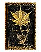 Skull and Green Leaf Poster