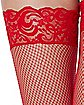 Red Lace Fishnet Thigh High Stockings